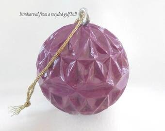 Gift for Golfer, Carved Golf Ball, Golf Gift For Men or Women Golfer, Violet Purple Christmas Ornament