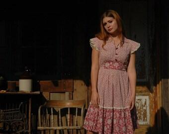 Gunne Sax Style Dress / Boho Dress / 70s / 1970s / Cotton/ Folk / Dress / Bohemian Dress / Mori Girl / Peasant Dress