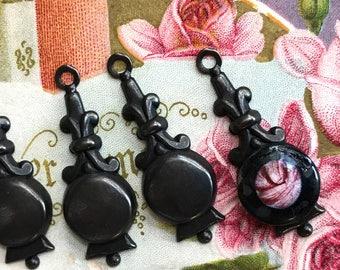 4 Renaissance Findings, Black Noir, Art Nouveau, Minimalist Drops, Victorian Connectors, Matte Black Findings, Earring Drops, USA #B185S