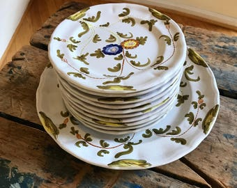 60s Italian Ceramic Dessert Cake Plates 11 PC Set Bloomingdales Hand Painted Craftsmanship Festive Midcentury Table Serving