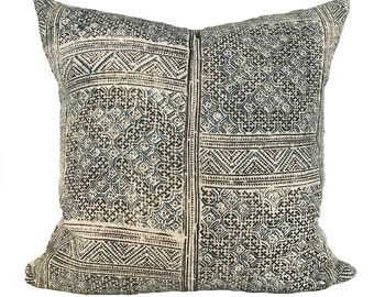 Vintage Black and Blue Hmong Thai 18x18 Pillow