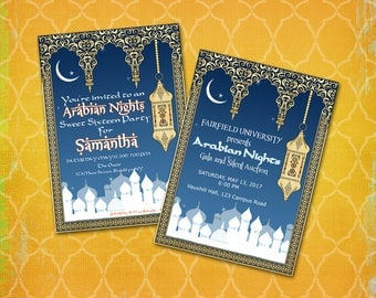 Arabian Nights Invitation / Theme Party / Moroccan Casbah Kismet Byzantine Persian Lantern /FundraiserCharity Wedding Birthday Prom Shower