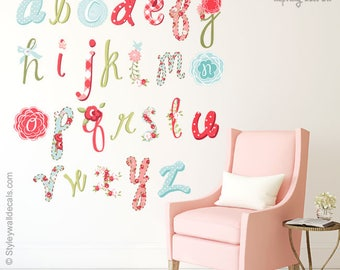 Alphabet Wall Decal, Alphabet Wall Sticker, Letters Wall Decal, Floral Alphabet Wall Decal, Flowers Lettering, Scrapbook Wall Decor Decal