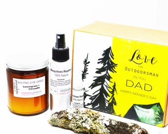 Father's Day Gift Set for Outdoor Dad Natural Bug Repellent Lemongrass Citronella Soy Candle, Organic Bug Sprays and Free Domestic Shipping