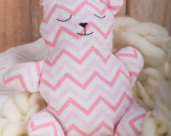 Pink Chevron Teddy Bear