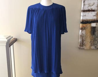 Vintage Woman's Royal Blue Tiered Drop Waist Pleated Dress 1980s does 1920s M/L