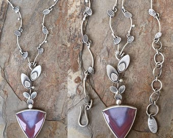 Inca Agate and Fine Silver Necklace. Handmade Jewelry for Charity. NC123