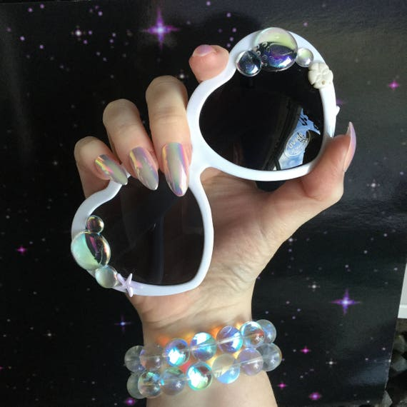 Mermaid Sunglasses, White heart shape sun glasses, with iridescent bubbles