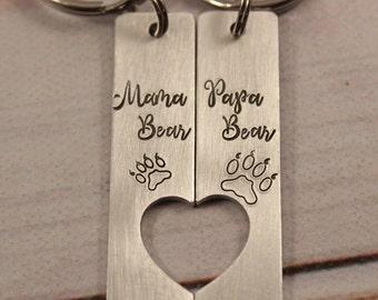 Mama Bear & Papa Bear - Couples Keychain Set