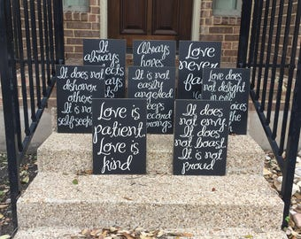 Wedding Aisle Signs ~ Love Is Patient Love Is Kind Painted Wood Signs ~ 1 Corinthians Set Of 8 Signs ~ Wedding Aisle Decoration ~Aisle Decor
