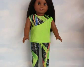 18 inch doll clothes - Lime Green Leggings and Top handmade to fit the American girl doll - FREE SHIPPING