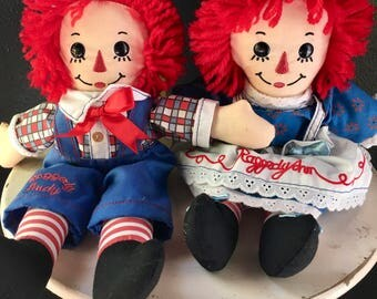 Vintage Antique Raggedy Ann and Andy Dolls