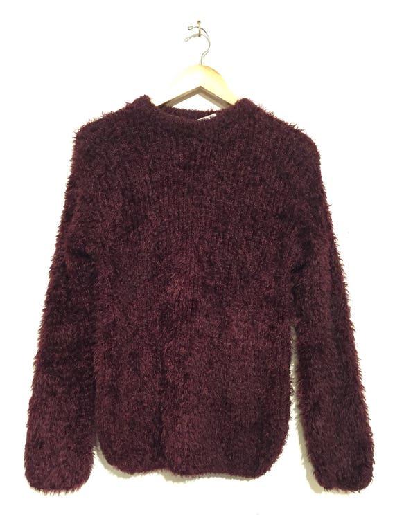 Plum High Neck Fuzzy Textured Sweater