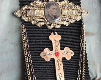 SOLD to BB - nun's honour - grosgrain ribbon brooch vintage rhinestone tintype cross buckle chain art deco gothic catholic religious