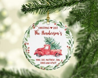 2017 Christmas Ornament Personalized Family Christmas Ornament Hostess Gift Family Ornament Family Name Ornament Pickup Truck Last Name Cute