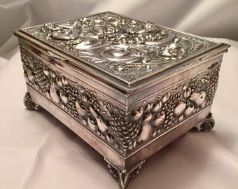 Victorian Quadruple Plate Silver Mermaid Box by James W Tufts Boston Rare Art Nouveau Jewelry Vanity Decor 1800s American Made Heirloom