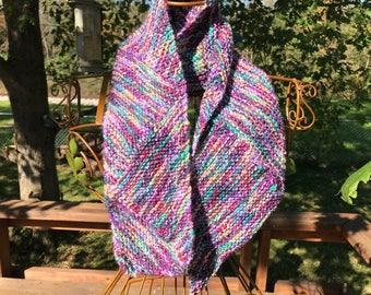 Hand-Knit Multidirectionall Diagonal Scarf