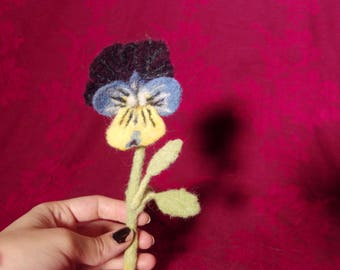 Pansy Boutonniere - Needle felted wool - floral buttonhole or pocket decoration