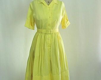 Vintage 1960s Le Greg Yellow Shirt Dress Full Skirt Medium