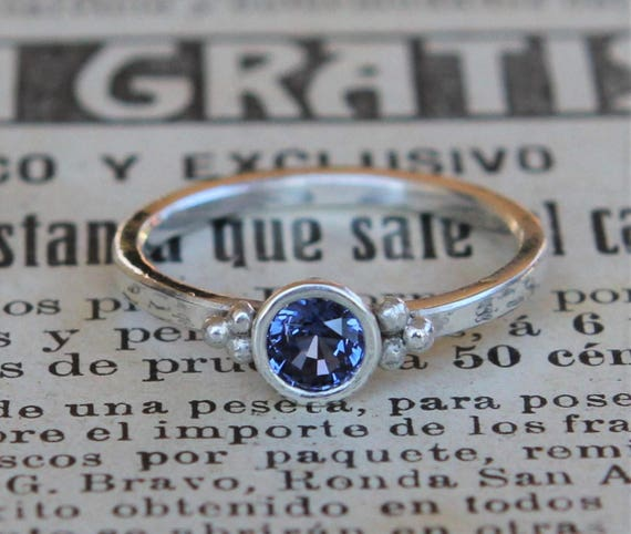 Genuine Sapphire Ring, Wife Valentines Gift, Unique Wife Gift, Modern Engagement Ring, Alternative Engagement Ring, September Birthstone