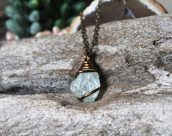 Raw Aquamarine Necklace - Natural Stone Pendant - Wiccan Necklace - Pagan Jewelry - Gemstone Jewelry - Bohemian Necklace - Festival Fashion