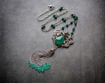 Emerald Deco Tassel Necklace Gem Vintage Assemblage Rhinestone Antique Silver Crystal Rosary Chain Green Crystal Repurposed Festival