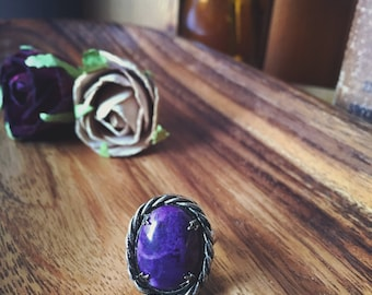 Purple Amethyst Ring, Purple Cabochon Ring, Stone, Gemstone, Adjustable Ring