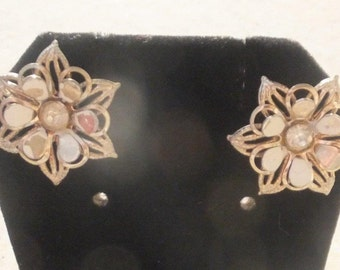 Art Deco Vintage 30's enamel filigree 3D Flower Rhinestone center screw back earrings brass clip floral enameled petals Unique Dimensional