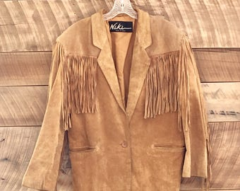 Vintage Women's Brown Suede Leather Fringe Jacket by Niki - L/XL