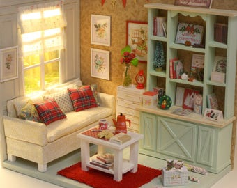 Xmas cozy room - 1/10 miniature dollhouse diorama (handmade)