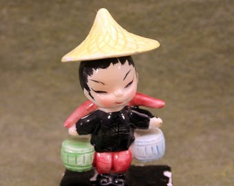 Asian Boy Figurine Water Carrier Norcrest Paper Label Made Japan 1950s Hand Painted T