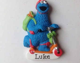 Cookie Monster Personalized Christmas Ornament Sesame street  - baby gift, 1st Christmas, Gift tag, Party Favor