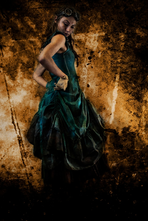 Turquoise Blue Green, Fantasy Dress  Hand dyed Brown Marble Patina Dip Dye ombre details