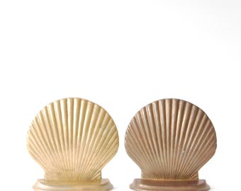 Vintage Brass Seashell Bookends - Vintage Brass Seashells - Vintage Brass Bookends - Set of Two Brass Sea Shell Book Ends - 1970s Decor