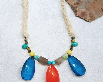 Huge Chunky Colorful Beaded Teardrop Textile Statement Necklace Red Blue Turquoise