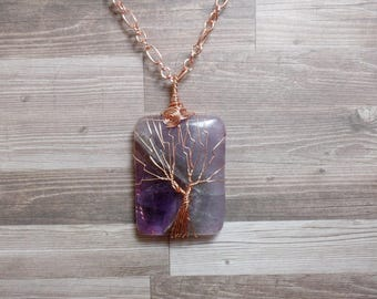 Amethyst Rectangle Tree of Life Necklace - Amethyst Necklace - Gemstone Necklace - Amethyst Pendant - Copper Necklace - Rectangle Necklace