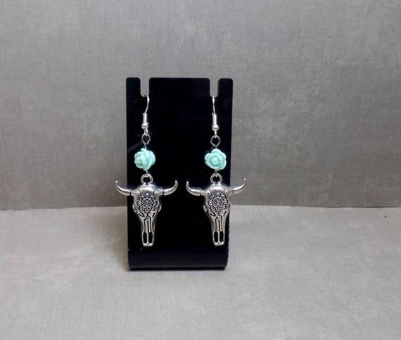 Blue Flower Cow Skull Earrings - Steer Skull Earrings - Boho Cow Skull Earrings - Southwestern Skull Earrings - Free US Shipping
