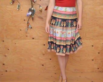 Vintage 60s Boho Floral Striped Midi Skirt In Lovely Spring Colors Size S