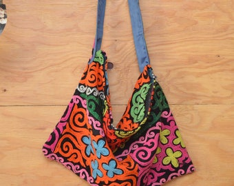 Elaborate Large Vintage 70's Rainbow Purse Great Boho Floral Ethnic Embroidered Slouch Bag