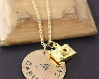 Photographer Gift , Camera Charm Necklace Gold , Capture Life