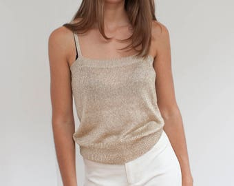 Gold knit cropped tank - slinky crop top - shimmery gold - S
