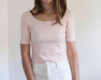 Pale pink ballet top - scoop neck crop top - USA made - XS-S
