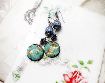Rustic Assemblage Earrings - Vintage Blues - Rare Foiled Lampwork, Atomic Age Cabs - Unusual Turquoise Blue & Gold Plastic Cabochons