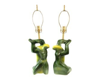 Pair Heifetz Pottery Lamps Mid-Century Modern Cubist Man and Woman in Yellow and Green