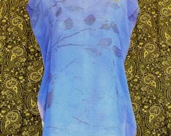 Periwinkle Pigment Solar Dyed Eco Printed Silk Tunic Blouse