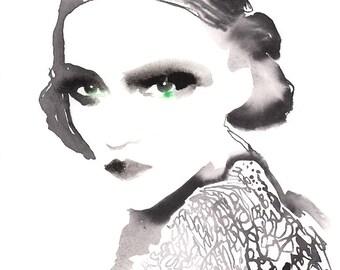 Watercolor Fashion Print, Fashion illustration, Fashion Poster, Fashion Wall Art, Fashion art Print, Collect Art, Jazz