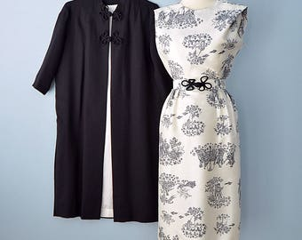 1960s Cocktail Dress and Coat...Lovely Black and White Asian Inspired Silk Cocktail Dress with Black Coat
