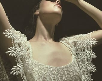 Vintage Crochet Dress - fringe dress - cocktail dress -  Lee Jordan - wedding dress - off the shoulder - New Years Dress - S M
