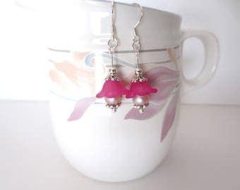 Pink Pearl Flower Earrings - Fancy Silver End Caps - Fuchsia Flowers with Pale Pink Freshwater Pearl Centers - Pretty Kawaii Dainty Earrings
