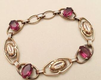 Art Deco Jewelry, Providence Stock Company Gold Filled Bracelet, Vintage Jewelry, Sterling Silver, Maroon Red Rhinestone Art Deco Bracelet